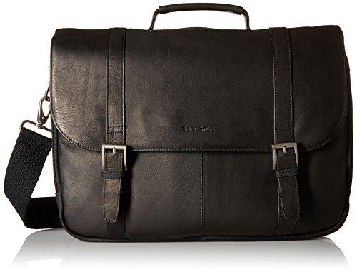 Black Mens Messenger Bag (Samsonite Colombian Leather Flap-Over Messenger Bag, Black, One)