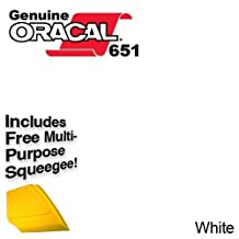 "ORACAL 651 12"" x 15ft Roll of Matte White Repositionable Adhesive-Backed Vinyl for Craft Cutters, Punches and Vinyl Sign Cutters w/ FREE Applicator Squeegee"