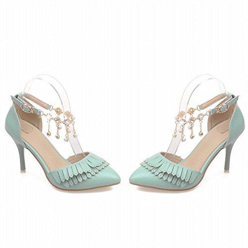 Pied De Charme Femmes Mode Perlé Mary Jane Talon Haut Pompes Chaussures Bleu