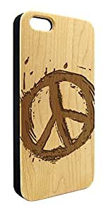 Genuine Maple Wood Organic Splatter Peace Sign Snap-On Cover Hard Case for iPhone 5C wangjiang maoyi