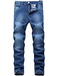 Men's Blue Skinny Jeans Stretch Washed Slim Fit Straight Pencil Pants