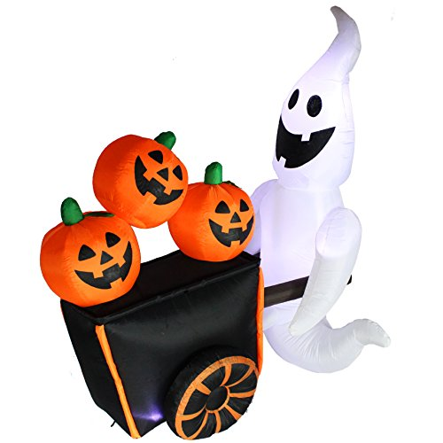 Joiedomi Halloween Inflatable Blow-up Ghost Pushing Cart of Pumpkins - 6 Ft Tall 4 Ft Wide