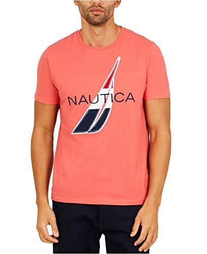 Nautica Men's Logo Graphic Print Cotton T-Shirt (Large, Spiced Coral)