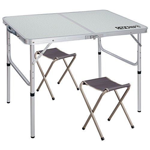 Adjustable 2 Leg Table - REDCAMP Folding Camping Table Adjustable, Portable Picnic Table with 2 Chairs, Aluminum White 35.4