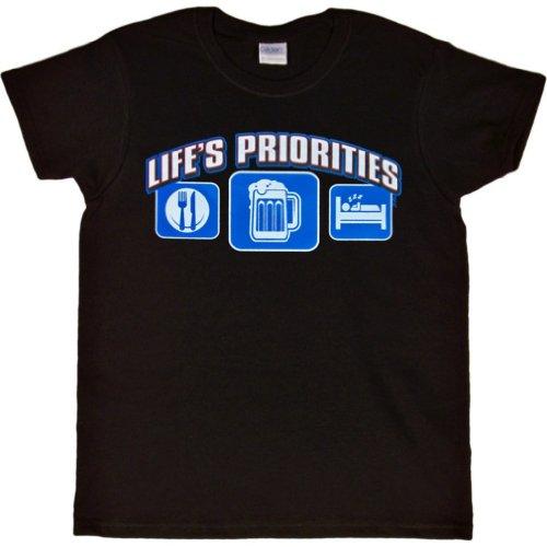 WOMENS T-SHIRT : BLACK - L - Lifes Priorities Eat Sleep (T-shirts Lifes Priorities Beer)
