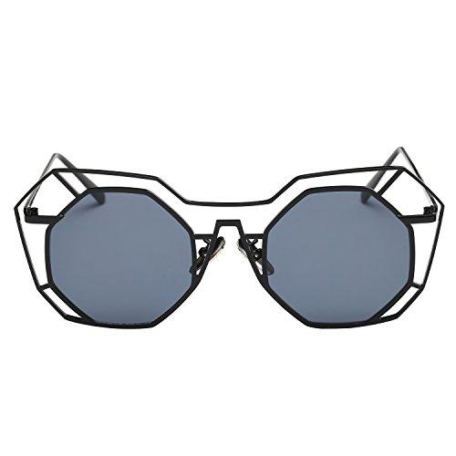 Zeraca Women's Reflective Metal Frame Asymmetry Sunglasses 53mm (Black, - 2015 Trending Sunglasses