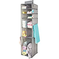 mDesign Long Soft Fabric Over Closet Rod Hanging Storage Organizer with 6 Divided Shelves, Side Pockets for Child/Kids Room or Nursery - Textured Print - Gray
