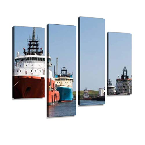 (Oil Support Vessels docked in Aberdeen Harbour, Scotland Canvas Wall Art Hanging Paintings Modern Artwork Abstract Picture Prints Home Decoration Gift Unique Designed Framed 4 Panel)