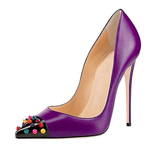 Damen Spitze Zehen Pumps Fellsamt High-Heels Stiletto Cap Toe mit Nieten PU Violett