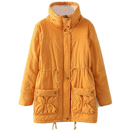Lapel Solid Mid Duffle Slim Yellow Size Coat Plus Fitted Womens Long Energy Jacket SzqtIXxx