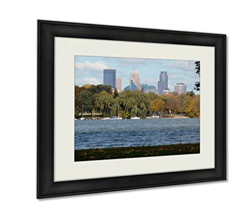 Minnesota Twins Framed Wall (Ashley Framed Prints Minneapolis Minnesota Wall Art Decor Giclee Photo Print In Black Wood Frame, Soft White Matte, Ready to hang 16x20)