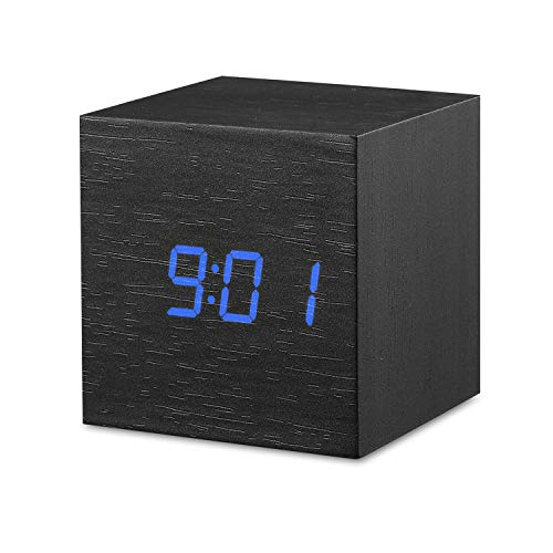 Digital Alarm Clock, OYES LED Wood Cube Desk Clock, Square Mini Alarm Clock, Displays Time, Date, Temperature for Bedroom, Office, Dormitory, Travel - Blue