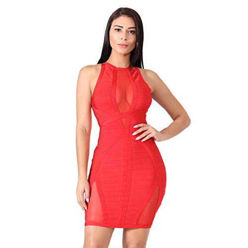 Red Bodycon Dress for Women Club Clubwear Sexy Mesh Evening Party (Small, Red)