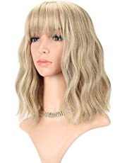 """FAELBATY Loose Wave Blonde Wig Short Bob Wigs With Air Bangs Shoulder Length Wig For Women Curly Wavy Synthetic Cosplay Wig for Girl Costume Wigs (12"""" Mix blonde and gold color)"""