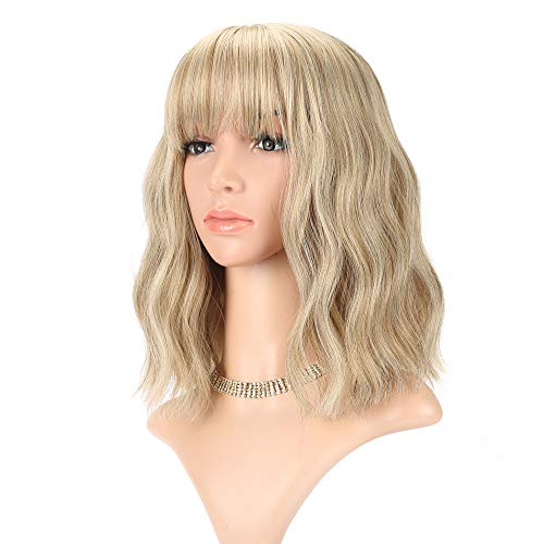 Wavy Wig Short Bob Wigs With Air Bangs Shoulder Length Women's Short Wig Curly Wavy Synthetic Cosplay Wig Pastel Bob Wig for Girl Costume Wigs Mix Khaki Blonde Gold color