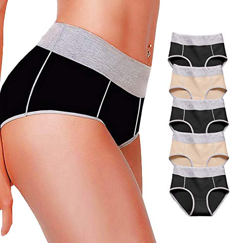 X-Nomiy Women's Soft Cotton Underwear Panties,Mid-High Waist Comfortable Breathable Hipster Briefs 5 Pack (muticoloured 1, XX-Large/Size 9) ()