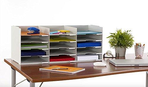 PaperFlow 26 1/2-Inch Stackable Horizontal Desktop Organizer, 15 Compartments, Black (531.01)