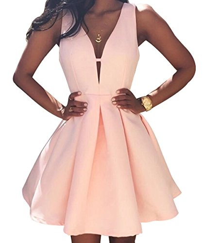 AiniDress Simple Little Homecoming Dress Short Sleeveless Party Prom Dresses Ball Gown Blush Size 8