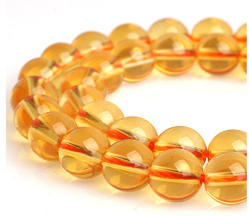 Top Quality Natural Citrine Crystal Gemsstone 10mm Round Loose Gems Stone Beads 15 Inch for Jewelry Craft Making GH2-10 ()