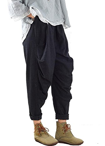 Women's New Solid Linen Harem Pants with Pockets (Style-2 Black) Linen Cuffed Pant
