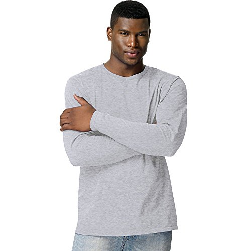 Hanes TAGLESS® Nano-T® Men's Long-Sleeve Tee_Light Steel_XL (Reg Sportswear)
