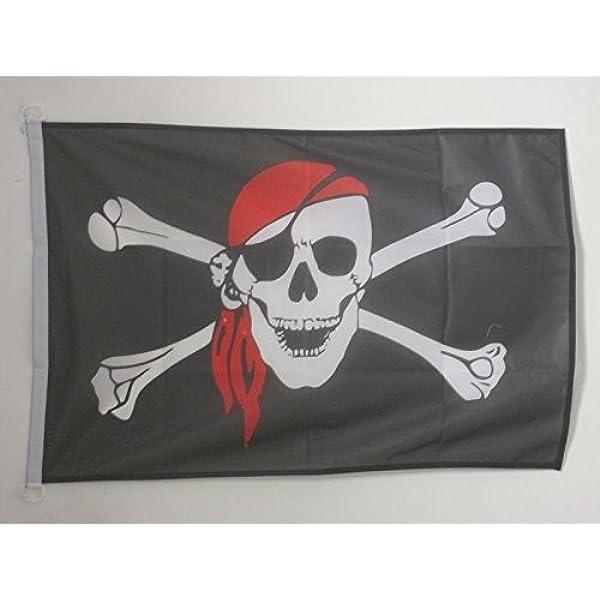 AZ FLAG Bandera Nautica Pirata con Bandana Rojo 45x30cm - Pabellón de conveniencia con Calavera 30 x 45 cm Anillos: Amazon.es: Hogar
