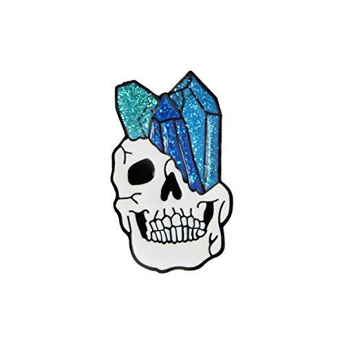 856store Sparkling Skull Enamel Brooch Pin Jeans Jacket