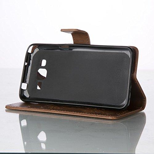 JIALUN-Personality teléfono shell Funda Samsung Galaxy G530, estuche rígido retro de folio en forma de caja con correa para la mano Funda Protecitve Shell para Samsung Galaxy G530 Seguridad y Moda ( C Light Brown