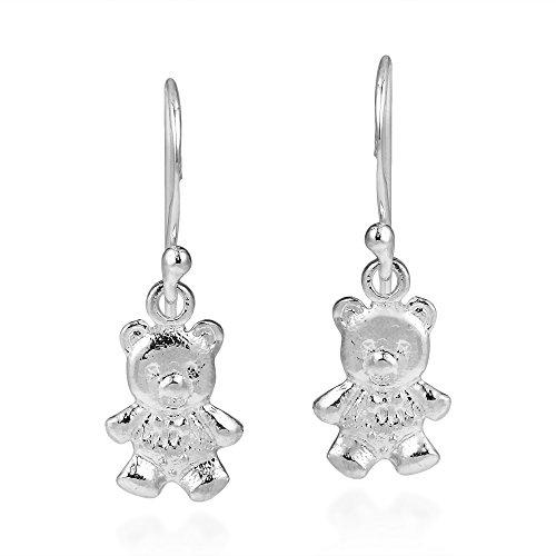 Cuddly Teddy Bear .925 Sterling Silver Dangle Earrings