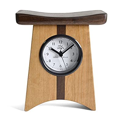 Sabbath-Day Woods East of Appalachia Limited Edition Desk Clock - Handcrafted in the USA of certified sustainable Appalachian hardwoods Asian-inspired design using cherry and walnut woods, hand-rubbed to a silky smooth finish American-made quartz movement uses 1 AA battery (included) - clocks, bedroom-decor, bedroom - 41LnJ6pwk5L. SS400  -