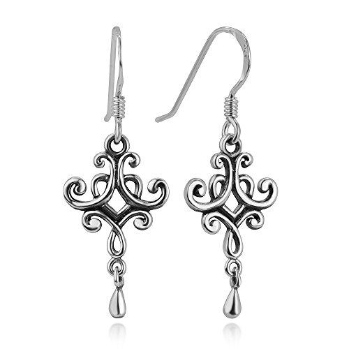 - 925 Oxidized Sterling Silver Vintage Open Detailed Filigree Dangling Dangle Hook Earrings 1.3