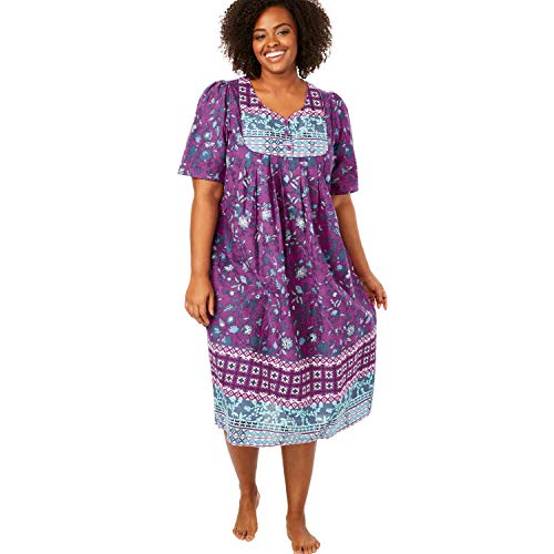 Only Necessities Women's Plus Size Print Lounger - Radiant Orchid Multi, 4X
