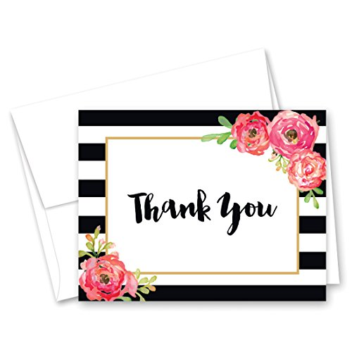 50 Black Stripes Watercolor Floral Thank You Cards ()