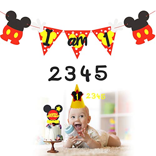 Mickey 1st Birthday Party Banner with Party Hat and Happy Birthday Cake Topper, Mickey Themed Party Decoration Kit for 1-5 Year Old Kids