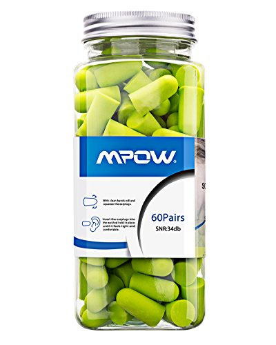 Mpow Foam Earplug, 34dB Highest NRR, 60 Pairs with Aluminum Carry Case, for Hearing Protection, Noise Reduction, Hunting Season, Sleeping, Snoring, Working, Shooting, Travel, Concert - Racing Ear Plugs