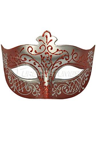 [Pure Seasons Royal Countess Venetian Mask (Red)-Standard] (Womens Masquerade Costume Countess)