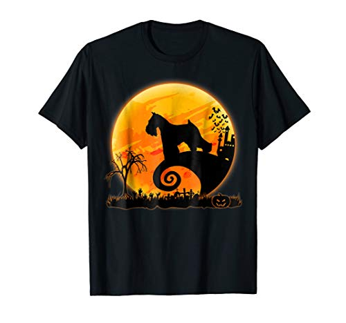 Miniature Schnauzer Dog And Moon Funny Halloween T-Shirt -