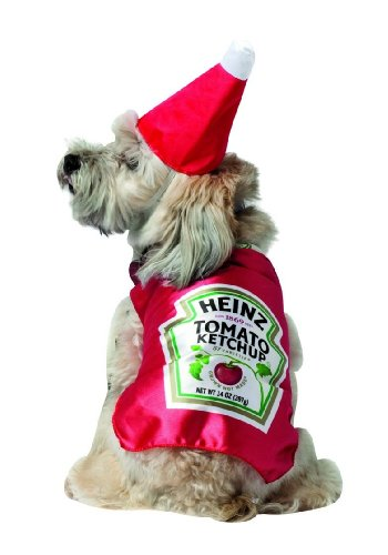 Matching Dog Costumes (Heinz Ketchup Bottle Pet Dog Costume Select Size: X-Small)