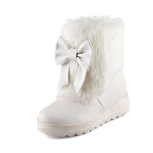 Allhqfashion Women's PU Low-Top Solid Pull-On Kitten-Heels Boots White 9Nl9ckbg2