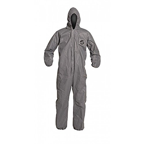 DuPont ProShield 10 PB127S Disposable Protective Coverall with Standard Fit Hood, Elastic Cuff and Ankles, Gray, Medium (Pack of 25)