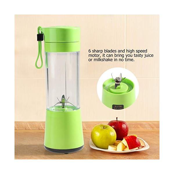 Zerone Portable Juicer, 350-400ML Frullatore estrattore di succo di frutta ricaricabile Plactic USB ricaricabile(verde) 3 spesavip