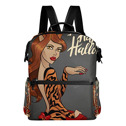 XINGAKA Vector Illustration Halloween Cat Woman Laptop Backpack Leather Strap School Bag Outdoor Travel Casual Daypack