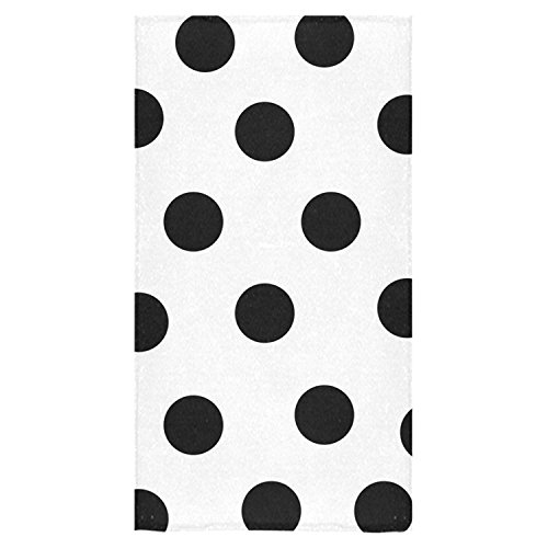 Crystal Emotion White and Black Polka Dot Beach Bath Towels