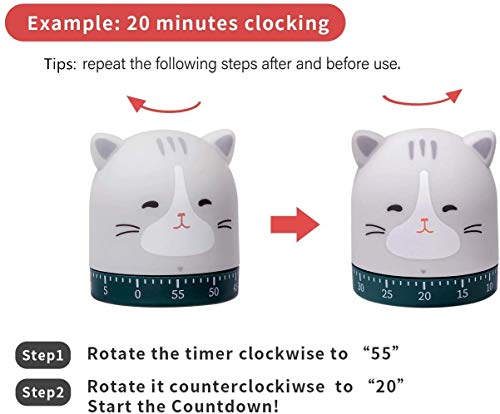 NATUREACT Kitchen Timer Manual Craft Mechanical Wind Up 60 Minutes Timer 360 Degree Rotating Cat&Dog&Fox&Pig Time Timer for Cooking (Cat)