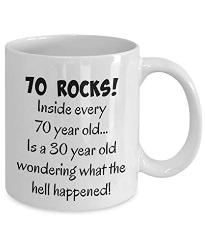 Happy 70 year old 1949 70th birthday gift mug for women or men, great Christmas, mothers day or fathers day present, white ceramic 11 oz coffee mug, tea cup (Best Gift For 70 Year Old Woman)