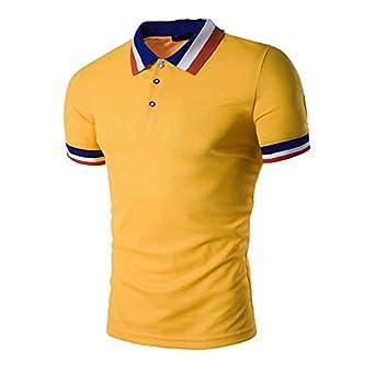 b9efc43cf58 Polo para Hombre de Manga Corta Casual Moda Algodón Camisas Cuello en Contraste  Golf Tennis  Amazon.es  Ropa y accesorios