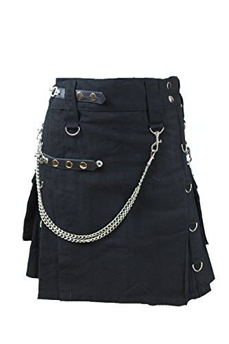 Cargo Pocket Skirt (Verillas Women's Metal V-Kilt Skirt Detachable Cargo Pockets 19