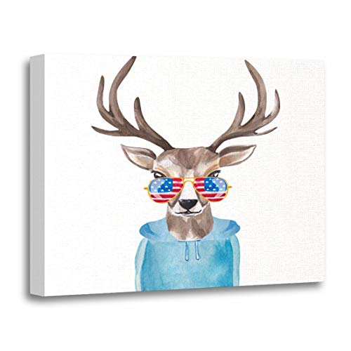 (Tinmun Painting Canvas Artwork Decorative Colorful Funny Cute Watercolor Deer in Sunglasses USA Flag Wooden Frame 12x16 inches Wall Art for Home)