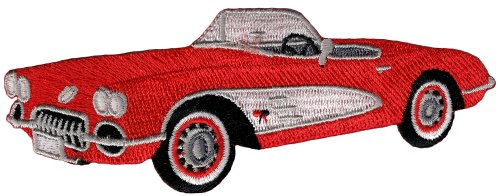 - Red Convertible Car Patch Embroidered Iron-On Automobile