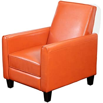 Best Selling Davis Leather Recliner Club Chair, Burnt Orange